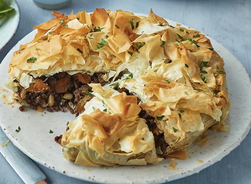 Moroccan hogget filo pie